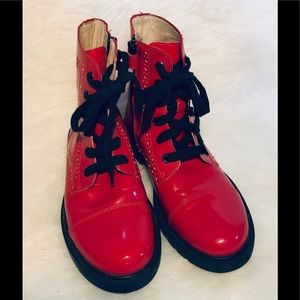 Naturino red patent leather ankle boots